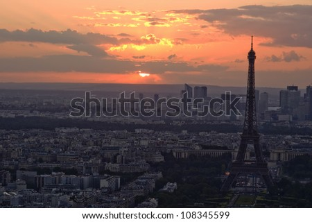 PARIS, FRANCE, Eiffel Tower at Sunset