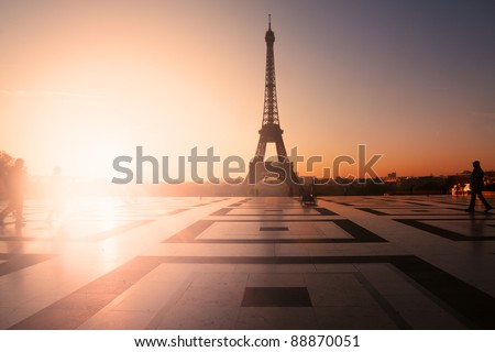 Paris, France: Eiffel Tower at sunset (or sunrise) from Trocadero. Copy space on left