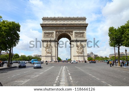 Paris, France - famous Triumphal Arch located at the end of Champs-Elysees street. UNESCO World Heritage Site. HDR photo.