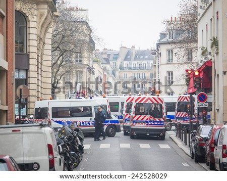 PARIS FRANCE JANUARY 7 2015 Street of Paris after the Terror attack in Paris at the Charlie Hebdo newspaper JANUARY 7 2015 PARIS FRANCE