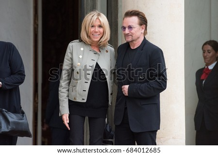 Paris, FRANCE - July 24, 2017 : Bono, the singer and leader of the band group U2 and Co-founder of the organization ONE at Elysee Palace to meet the french President and Brigitte Macron.
