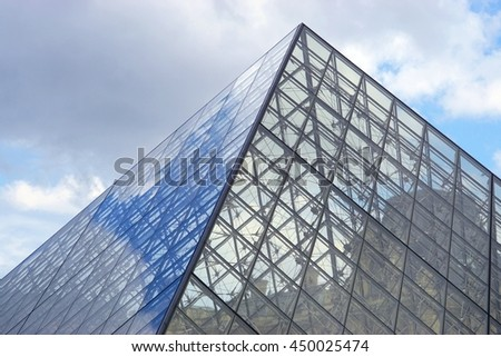 PARIS, FRANCE -1 JULY 2016- Built in 1989, the Pyramide du Louvre is a glass pyramid designed by architect I. M. Pei in the Cour Napoleon main courtyard in the Louvre Museum in Paris. - Shutterstock ID 450025474