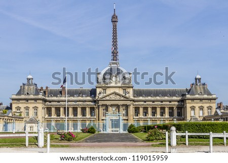 PARIS, FRANCE - JULY 14: Ecole Militaire (Military School was founded by Louis XV in 1750) - complex of military training facilities located southeast of Champ de Mars, Paris, France, July 14, 2012.