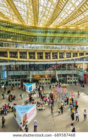 PARIS, FRANCE - JULY 1, 2017: Forum des Halles (designed by Patrick Berger and Jacques Anziutti, 2016) - a modern shopping mall. Entertainment for children.