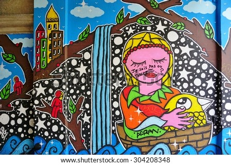 PARIS, FRANCE -8 JULY 2015- Graffiti street art in the French capital. Paris has become one of the European centers for graffiti street art.