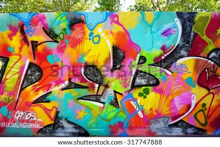 PARIS, FRANCE -28 JULY 2015- Graffiti street art in the French capital. Paris has become one of the European centers for graffiti street art.