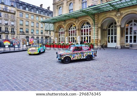 PARIS, FRANCE -20 JUNE 2015- Art Liberte du Mur de Berlin au Street Art exhibits street art and painted Trabant cars around the Gare de Est railway station in the 10th arrondissement of Paris.