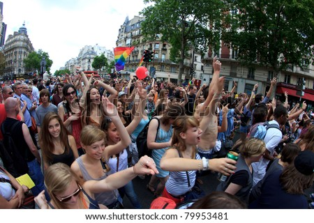 PARIS, FRANCE - JUNE 25. Unidentified people took part in the Paris Gay Pride parade to support the LGBT (lesbian, gay, bisexual, and transgender) rights, on June 25, 2011 in Paris, France.