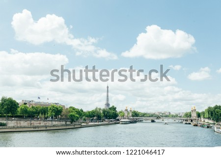 PARIS, FRANCE - 02 June 2018 : View of the Eiffel Tower and Siene River in Paris, France