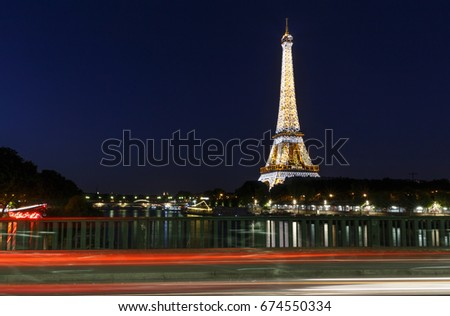 PARIS, FRANCE - June 23, 2017: view on Eiffel tower from bridge at night