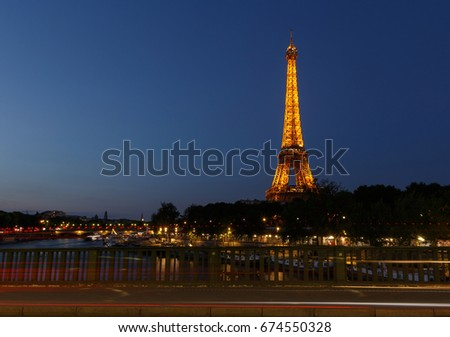 PARIS, FRANCE - June 23, 2017: view on Eiffel tower from Pont de Bir-Hakeim in Paris at night
