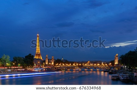 PARIS, FRANCE - June 26, 2017: view on Pont Alexandre III and Eiffel tower at night