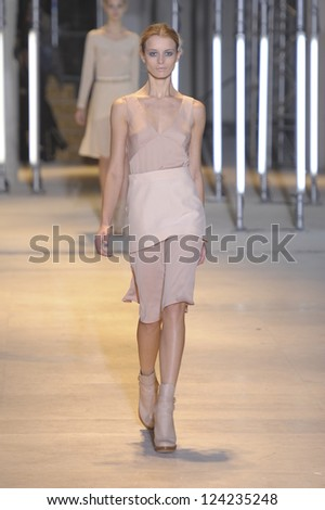PARIS, FRANCE - MARCH 05: A model walks the runway during the Cacharel Ready to Wear Autumn/Winter 2011/2012 show during Paris Fashion Week at Palais De Tokyo on March 5, 2011 in Paris, France