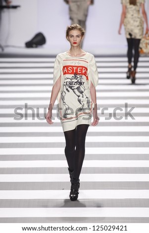 PARIS, FRANCE - MARCH 08: A model walks the runway during the Jean-Charles de Castelbajac Autumn/Winter 2011/2012 show during Paris Fashion Week at Pavillon Concorde on March 8, 2011 in Paris, France.