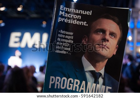 """PARIS, FRANCE - MARCH 2, 2017 : Emmanuel Macron has launched his manifesto for the 2017 french presidential election with his political party """"En Marche !"""""""