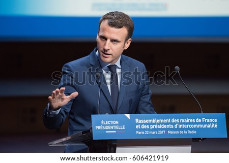 PARIS, FRANCE - MARCH 22, 2017 : Emmanuel Macron speaking during the Exceptional gathering of mayors of France in the context of the presidential elections.