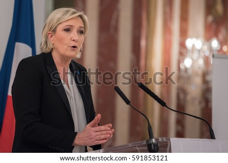 PARIS, FRANCE - MARCH 2, 2017: Maine Le Pen, president of the National Front a national-conservative political party in France in presidential conference about What role for the State in the economy.
