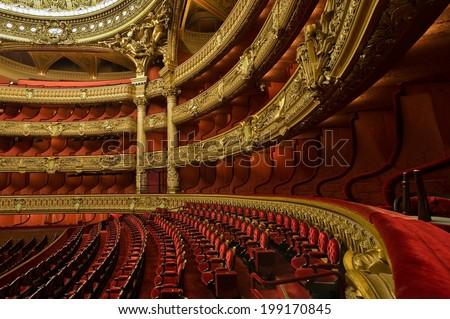 PARIS, FRANCE - MAY 21, 2014 : Inside the auditorium of the Opera Garnier Сток-фото ©