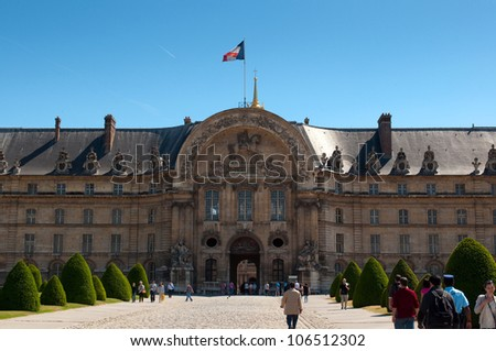 PARIS, FRANCE - MAY 28, 2011: Les Invalides hospital and chapel dome on May 28, 2011, France. As well as a hospital and a retirement home for war veterans since 1678