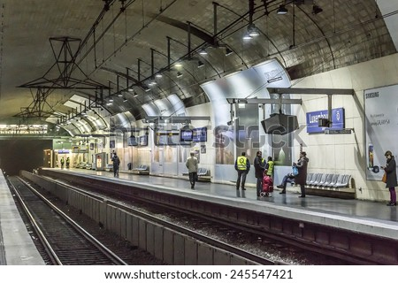 PARIS, FRANCE - MAY 10, 2014: Luxembourg metro station in Paris. Paris Metro is the 2nd largest underground system worldwide by number of stations.