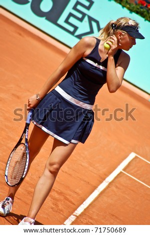 PARIS, FRANCE - MAY 28: Maria Sharapova from Russia prepares to serve during her first round match at Roland Garros on May 28, 2008 in Paris, France.