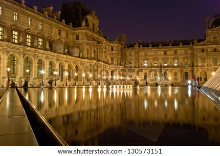 PARIS, FRANCE, MAY 08: Paris, France, MAY 08, 2012. The Louvre Palace (by night)
