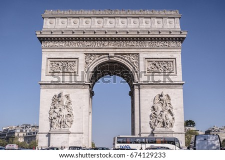 PARIS, FRANCE - MAY 14, 2016: Traffic on Avenue de la Grande Armee near Arc de Triomphe in Paris, France