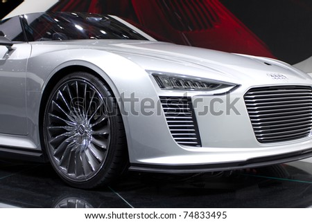 PARIS, FRANCE - OCT 10: Audi e-tron Spyder on display at the Paris Motor Show at Porte de Versailles on October 10, 2010 in Paris, France.