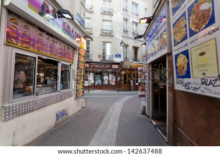 PARIS, FRANCE - OCT 02: Latin quarter in Paris, France, October 2,2012. Latin kvatal-traditional student's quarter in  5th and 6th districts of Paris on  left coast of Seine round university Sorbonne.