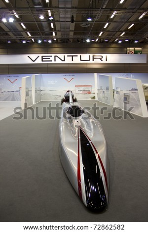 PARIS, FRANCE - OCT 10: Venturi the fastest electric car in the world on display at the Paris Motor Show at Porte de Versailles on October 10, 2010 in Paris France.