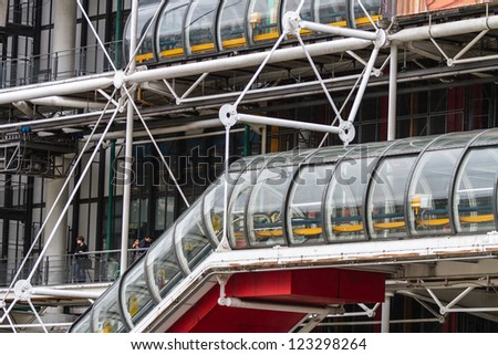 PARIS, FRANCE - OCTOBER 3: Centre Georges Pompidou on October 3, 2012 in Paris, France. Designed in style of high-tech architecture, it houses library, National Art Modern Museum and IRCAM.