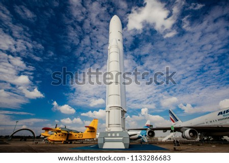 PARIS, FRANCE, OCTOBER 8, 2016:  Demonstration of space technology, EADS Ariane space rocket  in Le Bourget Air and Space Museum in Paris, France