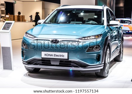 Paris, France, October 02, 2018: metallic blue Hyundai Kona Electric at Mondial Paris Motor Show produced by South Korean automotive manufacturer Hyundai