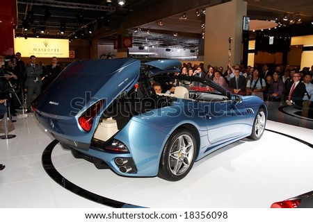 PARIS, FRANCE - OCTOBER 02: Paris Motor Show on October 02,  2008, showing Ferrari California, opening roof. while presentation