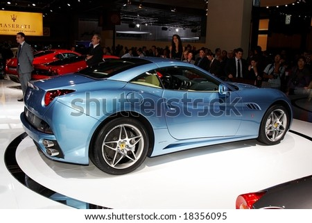 PARIS, FRANCE - OCTOBER 02: Paris Motor Show  on October 02, 2008, showing Ferrari California, rear-side view.