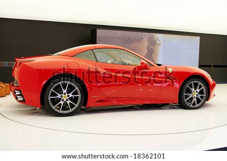 PARIS, FRANCE - OCTOBER 02: Paris Motor Show on October 02, 2008, showing Ferrari California, side view