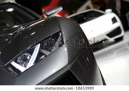 PARIS, FRANCE - OCTOBER 02: Paris Motor Show on October 02, 2008, showing Lamborghini Estoque Concept, front light detail