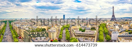 Paris, France. Panoramic view from Arc de Triomphe. Eiffel Tower and Avenue des Champs Elysees. Europe.