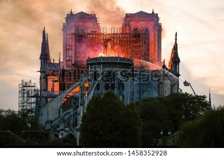 Paris/France- 15/04/2019  photo of cathedral Notre Dame on fire #1458352928