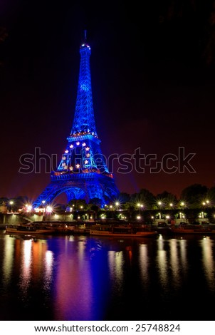 PARIS, FRANCE, 27 SEPT. 2008: from July to December 2008 the Eiffel tower in Paris is illuminated in blue color to celebrate French EU presidency.
