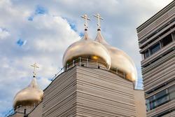 Paris, France - September 12, 2016:  Details of the new russian church in Paris at Quai Branly near the Eiffel Tower.