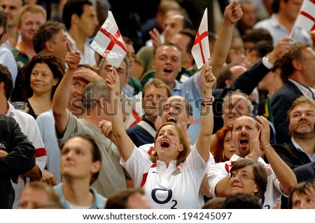 PARIS, FRANCE-SEPTEMBER 15, 2007: England supporters cheerign during the rugby match England vs South Africa of the Rugby World Cup, in Paris.