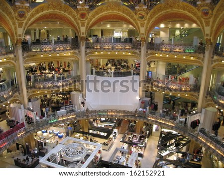 PARIS, FRANCE - SEPTEMBER 1 : inside the famous Galeries Lafayette. upmarket French department store company, with its brand stand stalls, as seen on September 1, 2008 in Paris, France.