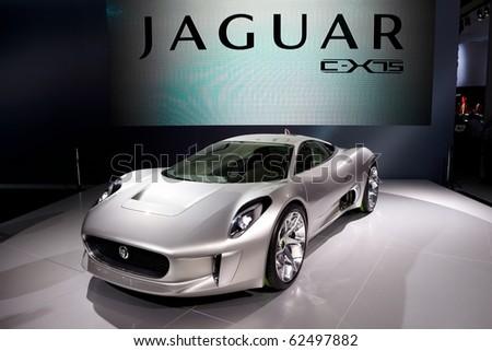 PARIS, FRANCE - SEPTEMBER 30: Jaguar C-X75 at Paris Motor Show on September 30, 2010 in Paris