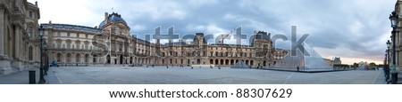 PARIS, FRANCE-SEPTEMBER 9: Panoramic evening outside the Louvre Museum and the glass pyramid  on September 9, 2010 in Paris, France.The Louvre was opened in 1793