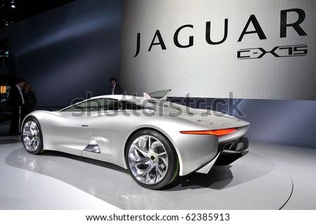 PARIS, FRANCE - SEPTEMBER 30: Paris Motor Show on September 30, 2010, at the Paris Expo-Porte de Versailles, World Premiere showing of the Jaguar C- X75 Supercar concept