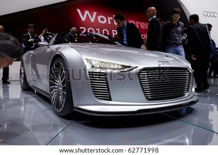 PARIS, FRANCE - SEPTEMBER 30: Paris Motor Show on September 30, 2010 in Paris. Audi e-tron Spyder, front view - stock photo