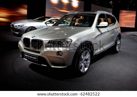 PARIS, FRANCE - SEPTEMBER 30: Paris Motor Show on September 30, 2010 in Paris, BMW X3, front view