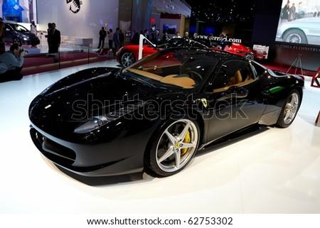 PARIS, FRANCE - SEPTEMBER 30: Paris Motor Show on September 30, 2010 in Paris, showing Ferrari 458 Italia, front view