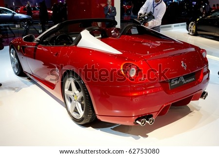 PARIS, FRANCE - SEPTEMBER 30: Paris Motor Show on September 30, 2010 in Paris, showing Ferrari SA APERTA, rear view